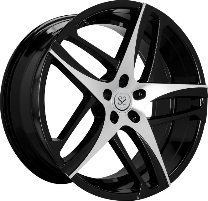 19 inch black machine face chrome 5*120 1 piece forged racing wheels rim